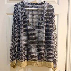 ROSE AND OLIVE Navy and Tan Patterned Blouse XL